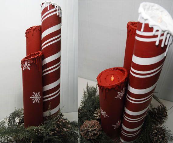 Adoro Artesanatos Reciclados! E ainda mais Artesanatos para o Natal! - Hoje quero você Veja Esta Ideia Maravilhosa de Como Fazer Velas Decorativas de Natal.