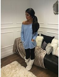 Cozy over-sized sweater, leggings, and fuzzy boot slippers | side ponytail | pajamas | lazy day | rich life