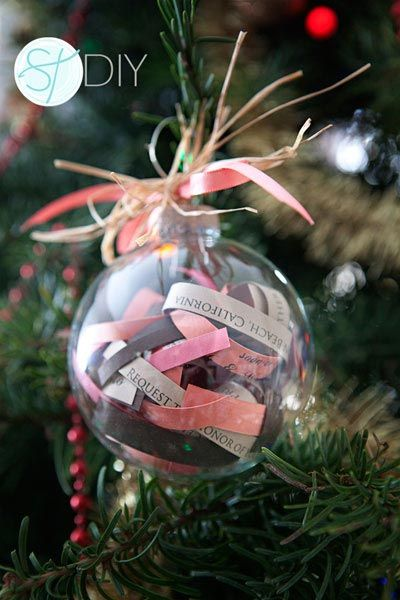 Decorate your Christmas tree with your wedding invitation with this creative (and easy!) DIY project.