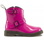 Size: 10 to 3 full sizes The original Biker boot is now available in exact mini replicas of these original versions. These have the distinctive contrast stitch, the yellow and black heel loop. A side zip for ease of use by small fingers is used across all sizes. Available in three fantastic patent colours, pink, red and black