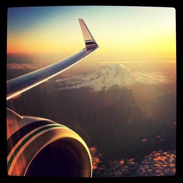 Overflying Rainier by nanegie, via Flickr