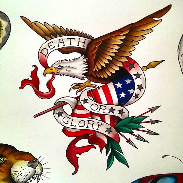 Tattoo Designs Cool Traditional Eagle and American Flag