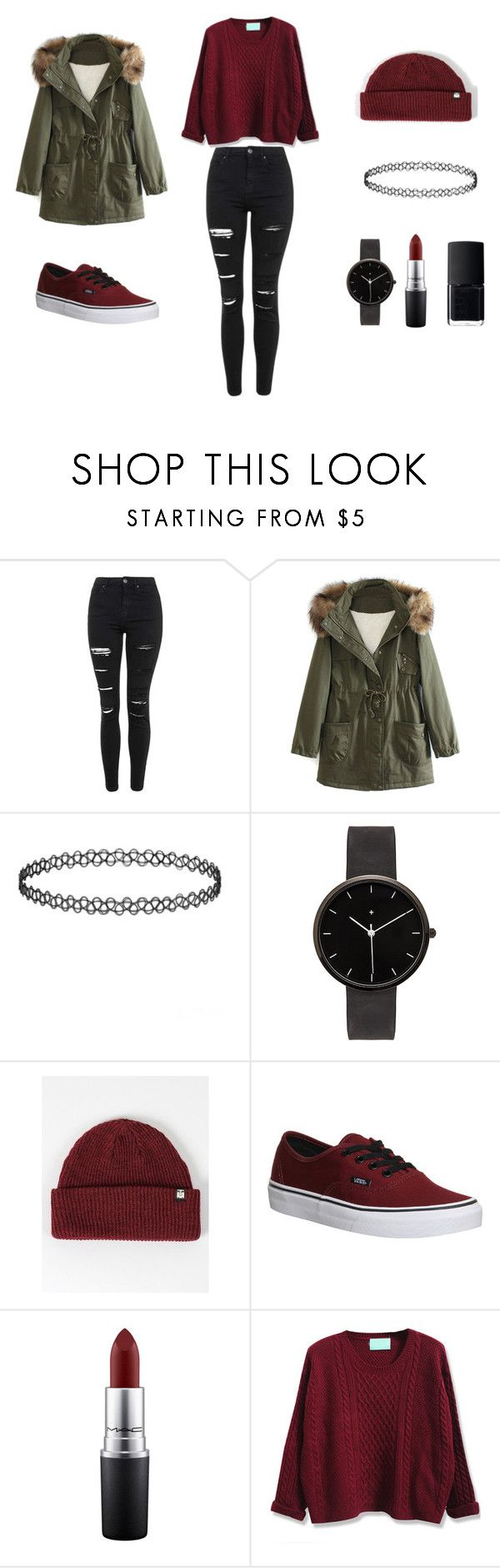 """Granate"" by carolinadiephuis on Polyvore featuring moda, Topshop, WithChic, I Love Ugly, OBEY Clothing, Vans, MAC Cosmetics, NARS Cosmetics, women's clothing y women's fashion"