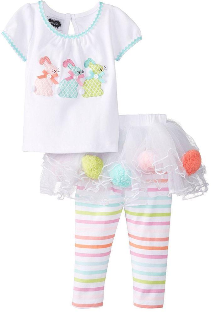 Mud Pie Baby Girls Spring Easter Bunny Shirt & Skirt Leggings Set Size 0-6M New #MudPie #EverydayHoliday