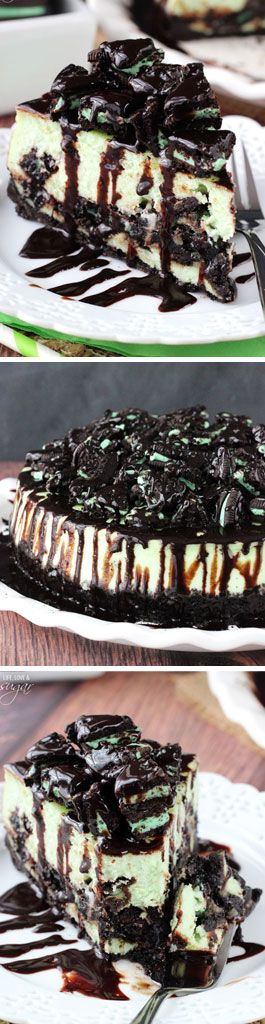 Mint Oreo Cheesecake - mint oreo crust filled with a thick and creamy mint cheesecake, chopped oreos and chocolate sauce! SO good!