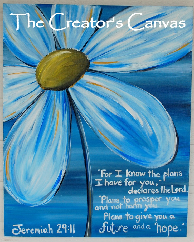 Blue Daisy Scripture Painting, I Know the Plans I Have for You, Bible Verse, 16 x 20. $85.00, via Etsy.