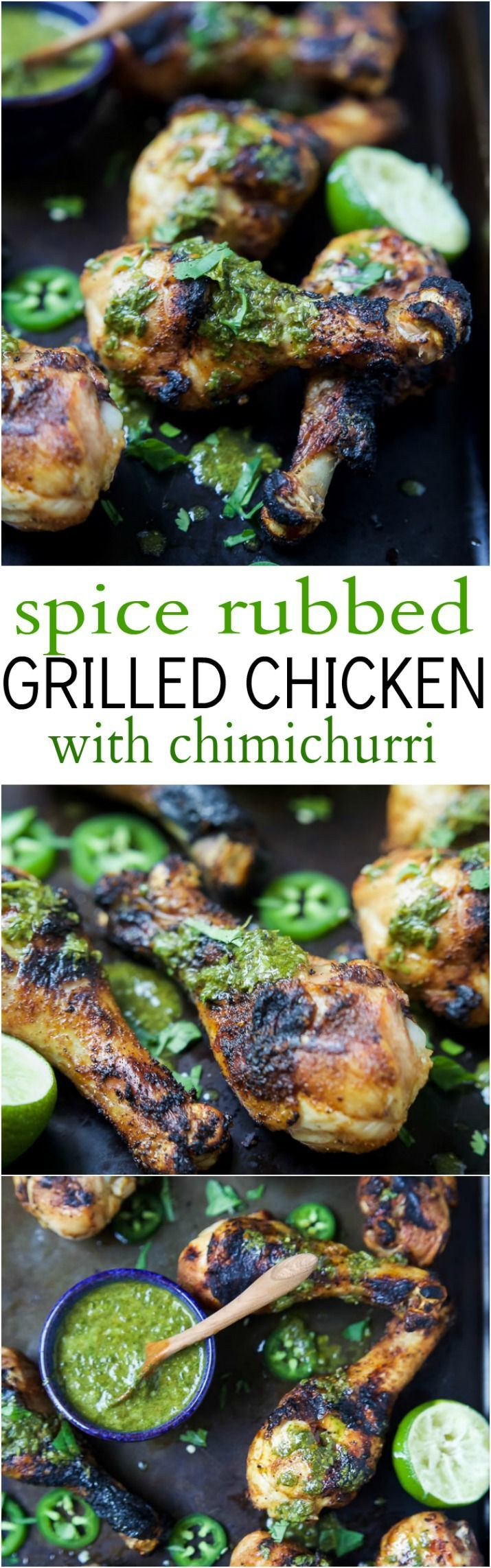 Spice Rub Grilled Chicken with a fresh Chimichurri sauce - a healthy, easy, 30 minute meal packed with fresh zesty flavors. This chicken recipe will quickly be a family favorite! | joyfulhealthyeats... #paleo #glutenfree