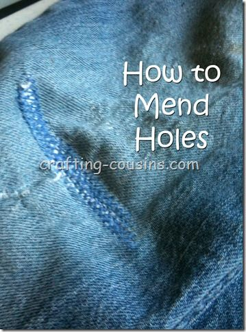 How to mend holes in your favorite clothes.  She uses jeans in this tutorial, but the technique will work on any article of clothing.
