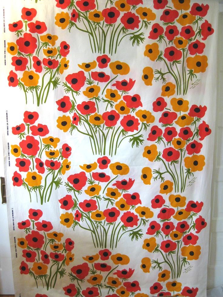 RARE Vintage Marimekko Fabric 73 Maija Isola Anemone, 4+yds, Pristine, unused   eBay