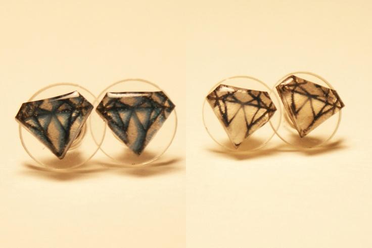 Small Diamond Pair of Stud Earrings. $10.00, via Etsy.