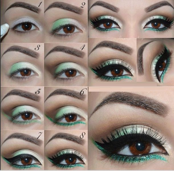 maquillage eye liner vert vert blanc et brun les yeux pinterest maquillage eye liner eye. Black Bedroom Furniture Sets. Home Design Ideas