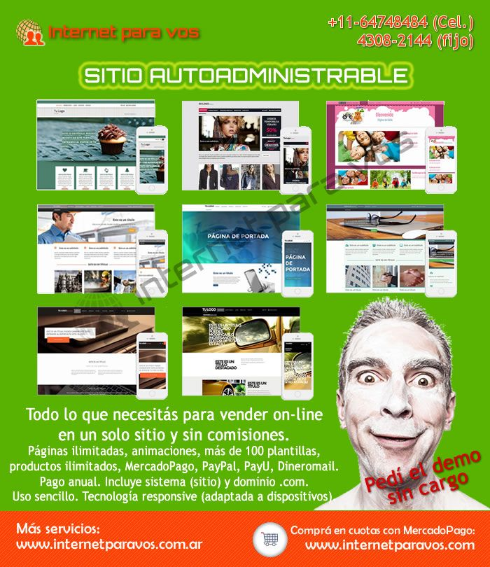 Sitio autoadministrable con carro de compras y dominio .com. Fácil de usar y de administrar. Productos ilimitados. Pago único anual. Diseño web. Internet para vos #sitioweb #desarrolloweb #páginaweb #diseñoweb #autoadministrable #tienda