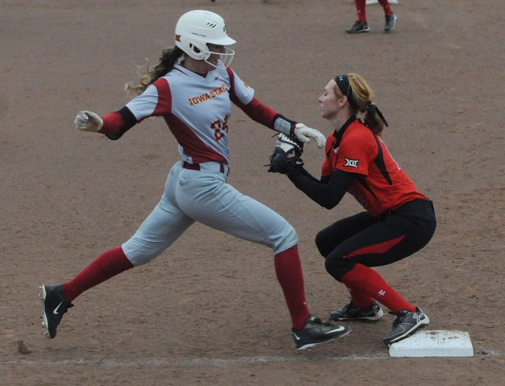 Iowa State's Kaila Konz reaches to the first base as Texas Tech's 1st baseman Devon Thomey catches the ball for forced out during the second inning at Cyclone Sports Complex Friday, March 24, 2017, in Ames, Iowa. Photo by Nirmalendu Majumdar/Ames Tribune http://www.amestrib.com/sports/20170324/softball-iowa-state-gives-up-13-runs-in-first-falls-to-texas-tech-18-4-in-big-12-opener