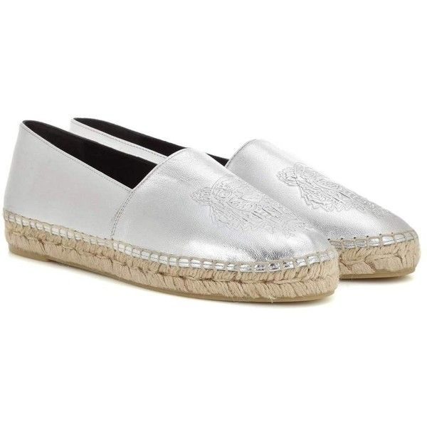 Kenzo Embossed Metallic Leather Espadrilles ($240) ❤ liked on Polyvore featuring shoes, sandals, espadrilles, silver, espadrilles shoes, metallic leather shoes, kenzo shoes, metallic sandals and real leather shoes