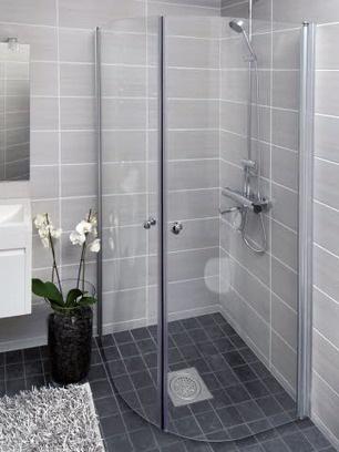 Kaarevalasinen suihkuseinä/-nurkka, kirkas lasi, 65x190cm