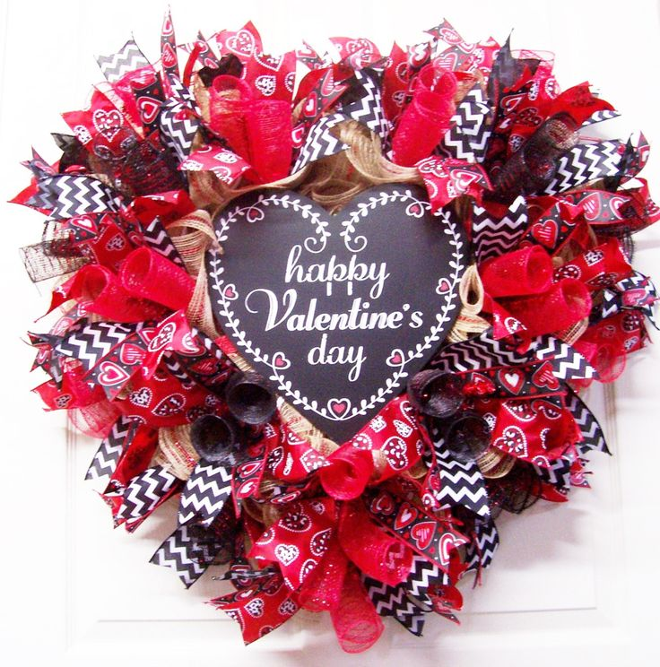 Happy Valentine's Day Burlap Wreath,Burlap Wreath,Heart Mesh Wreath,Valentine Wreath,Valentine's Day Gift by CherylsCrafts1 on Etsy
