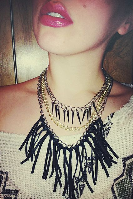 Leather Spike Necklace #DIY from Keiko Lynn