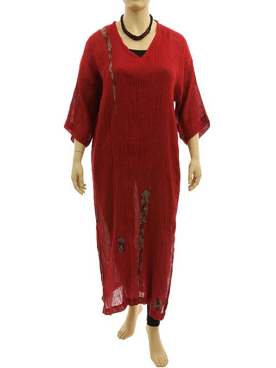 Lagenlook boho maxi dress caftan, crinkle linen in dark red L XL - Artikeldetailansicht - CLASSYDRESS Lagenlook Art to Wear Women's Clothing