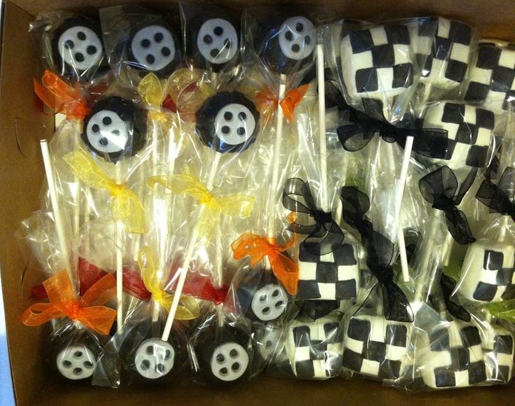 Car Tire And Checkered Flag Cake Pops Cake Pops