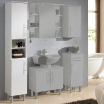 Badezimmer-Hochschrank Nuo in Weiß Hochglanz