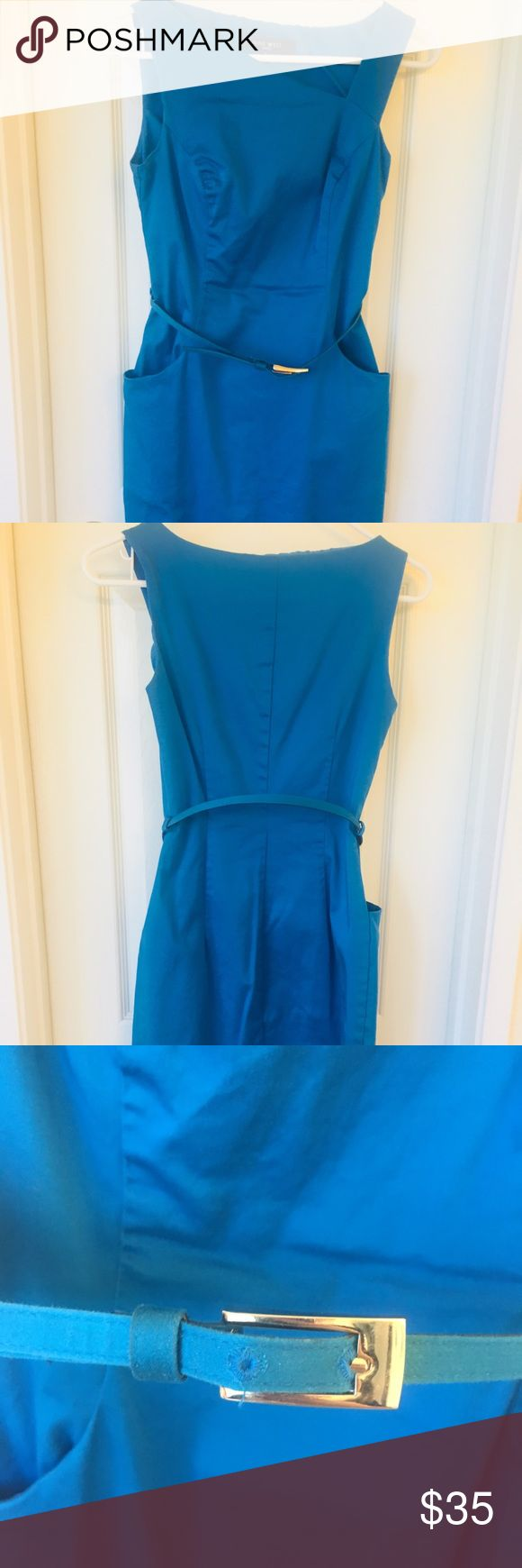Teal Nine West belted dress Beautiful, vibrant colored teal belted dress. Mid length perfect for the office. Figure flattering. Nice spring/summer color. Worn once. Nine West Dresses Midi
