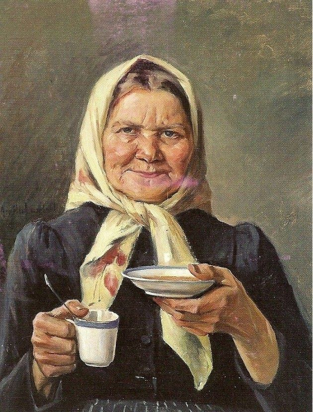 Amelie Helga Lundahl (Finnish, 1850 - 1914)  «Grandmother drinking coffee»