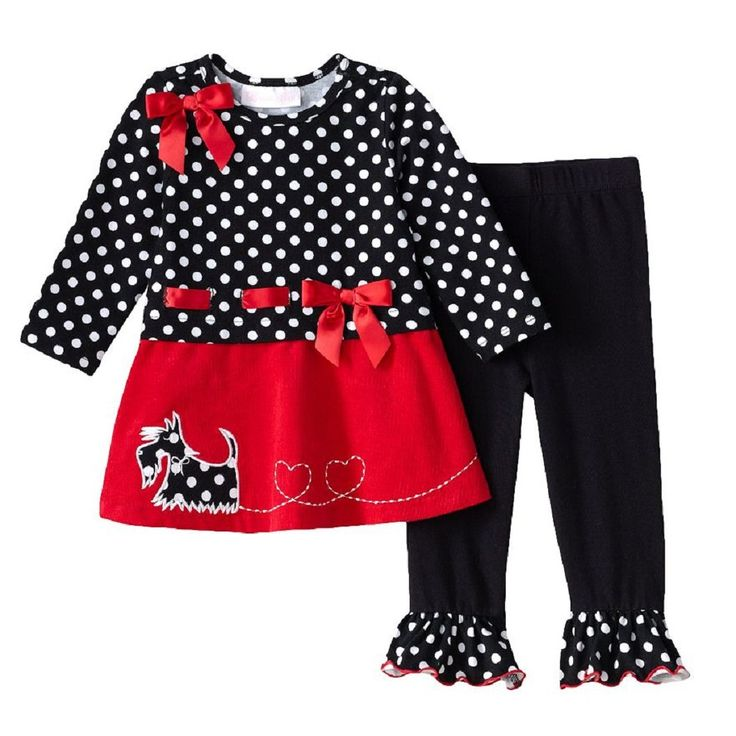Bonnie Jean Baby Girls Corduroy Scotty Dress Legging Outfit Red / Black 6-9M. Beautiful 2-piece dress & legging set from Bonnie Jean. The long sleeves dress features black white dotted bodice, satin red bow trim at shoulder & waistline, scotty dog applique' on red corduroy skirt. Coordinating pull-on elastic waist black ruffled hem leggings. Outfit is made of 95% cotton & 5% spandex. Machine wash cold. Adorable for all Holiday season.