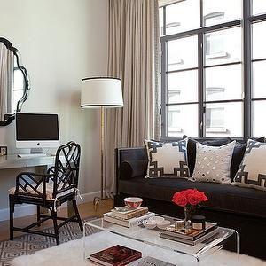 Jenny Wolf Interiors - living rooms - black, velvet, high back, sofa, nailhead trim, charcoal gray, gray, diamonds, rug, flokati, rug, silver, parsons, desk, black, mirror, gray, drapes, metallic parsons desk, metal