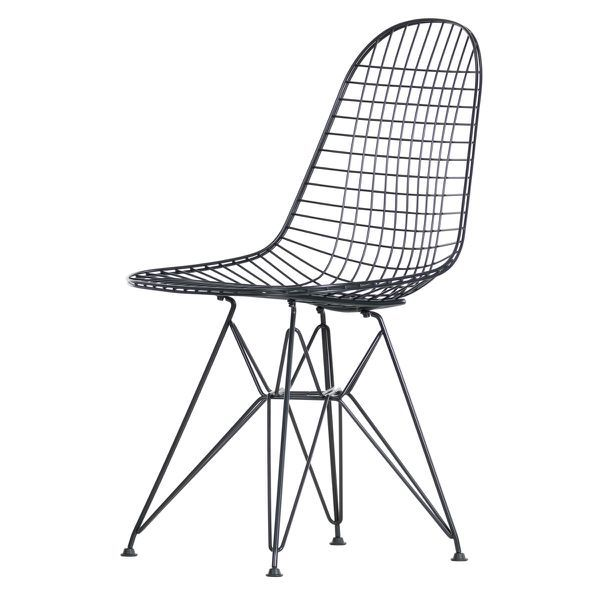 Vitra Wire Chair Dkr H 43 Cm Basic Dark Ohne Bezug Filzgleiter Basic Dark Drahtstuhl Eames Vitra Stuhl