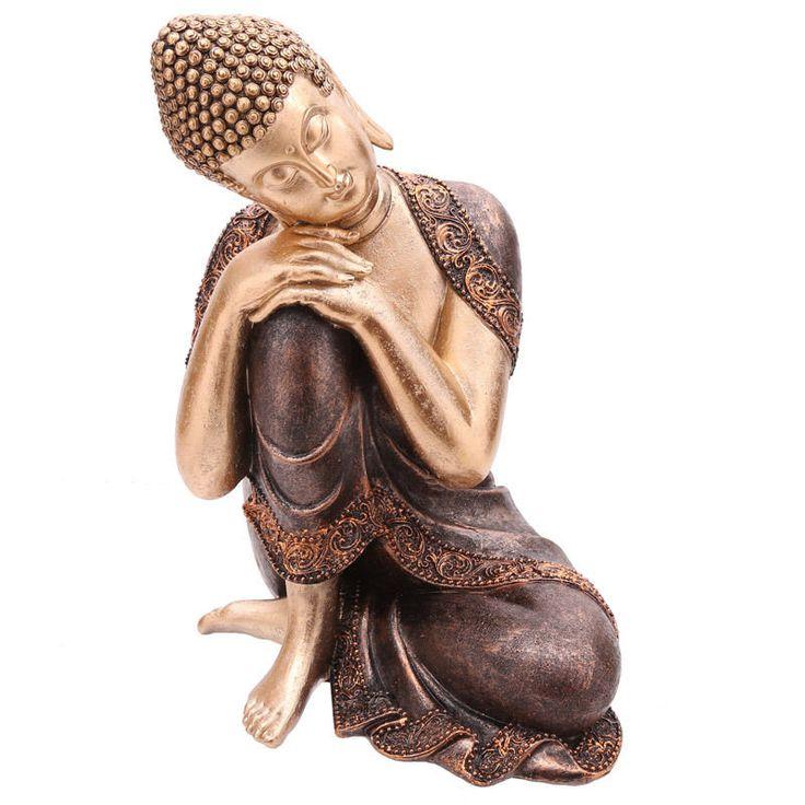 Home Decorative Thai Buddha Figurine Head Resting on Knee Ornament Height 29cm