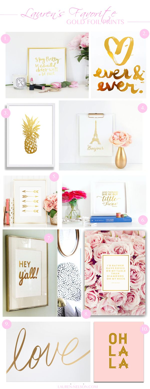 A range of gold foil prints. Interesting to see some designs that are more illustrative - not just typography