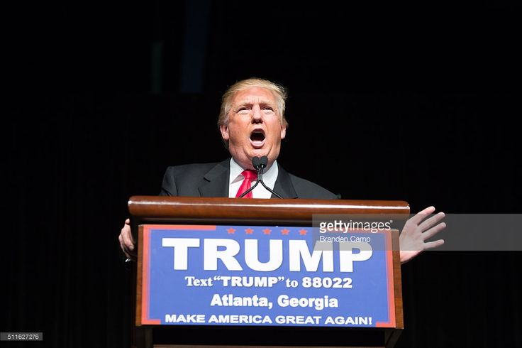 Republican presidential candidate Donald Trump speaks during a campaign rally at the Georgia World Congress Center, Sunday, February 21, 2016 in Atlanta, Georgia. Trump won the South Carolina Republican primary over nearest rivals Sen. Marco Rubio (R-FL) and Sen. Ted Cruz (R-TX).
