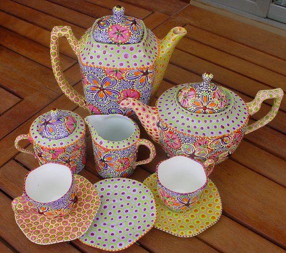*Hand painted Millefiori Tea Set