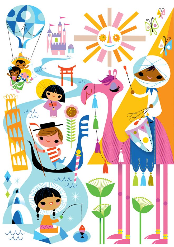 Kirsten Ulve--It's a Small World  vector illustration