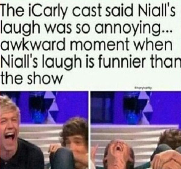 Niall's laugh is the sound of Angel's crying at how perfect his laugh is