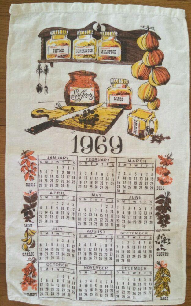 Details About Vintage 1969 Calendar Tea Towel Fabric Cloth