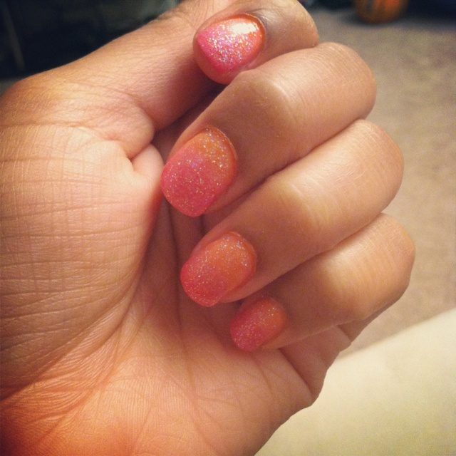Ombré Pink And Orange Nails With Glitter :)