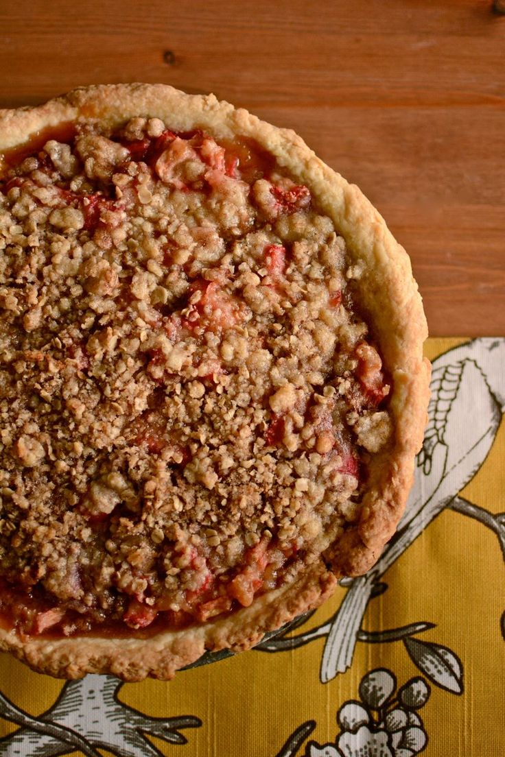 Strawberry Rhubarb Crumble Pie - I tried it and it turned out delicious! Rhubarb is sour in case you don't know. Also, I only baked the second portion at 350 for 30 min not 35-40.
