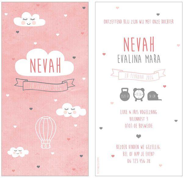 www.hetuilennestje.nl geboortekaartje Nevah: Geboortekaartje, roze, wolken, wolkjes, hartjes, hart, vaantje, luchtballon, ballon, meisje.