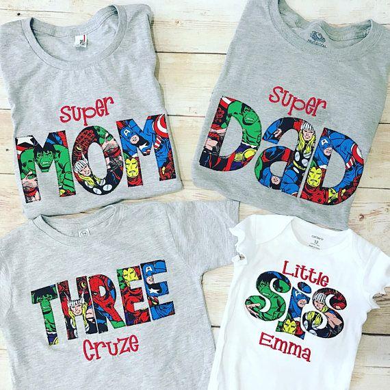 SUPERHERO Shirt  / MOM DAD Birthday Shirt / Superher Dad Shirt