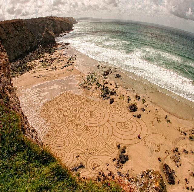 Amazing Swirling sand art Pattern along Cornish coast by Tony Plant
