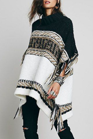 Stylish Stand Collar Half Sleeve Tassels Embellished Loose-Fitting Women's Sweater