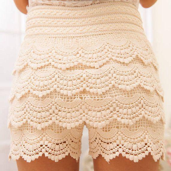 Sweet Cute Women Crochet Tiered Lace Shorts Skirts Skort Pants,Micro Mini Skirt Look Trouser Short Pants