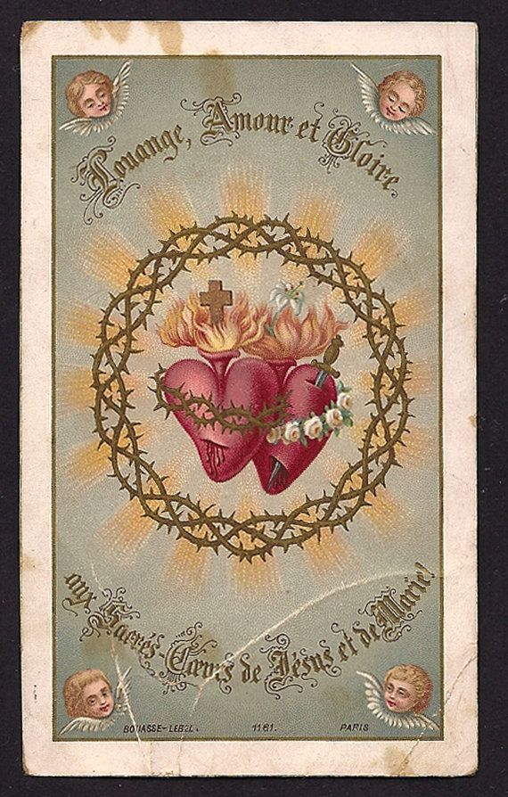 Gorgeous Antique Holy Card Sacred hearts of Jesus and Immaculate Heart of Mary