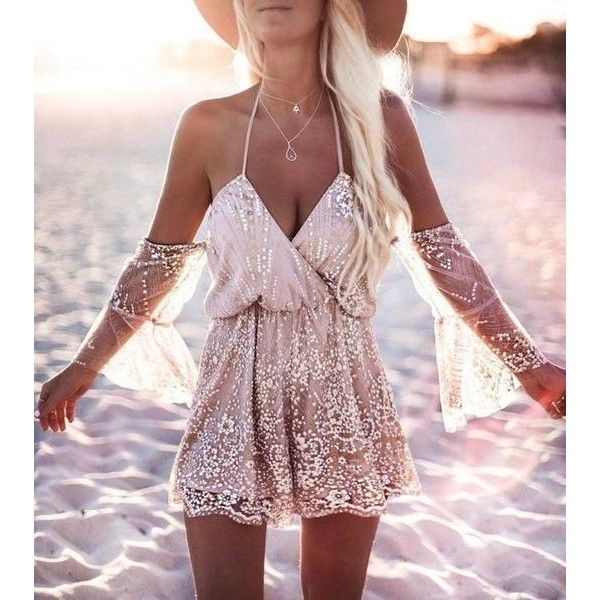 Sexy Sequined Women Backless Romper ($23) ❤ liked on Polyvore featuring jumpsuits, rompers, pink romper, backless rompers, sexy rompers, sexy romper and sequin romper