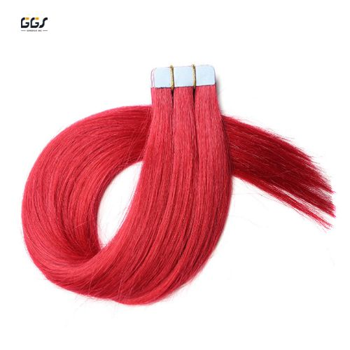 Tape Hair Extensions Red Straight Wave Brazilian Hair 100% Unprocessed Virgin Remy Human Hair Extensions 40pcs 5A 100g