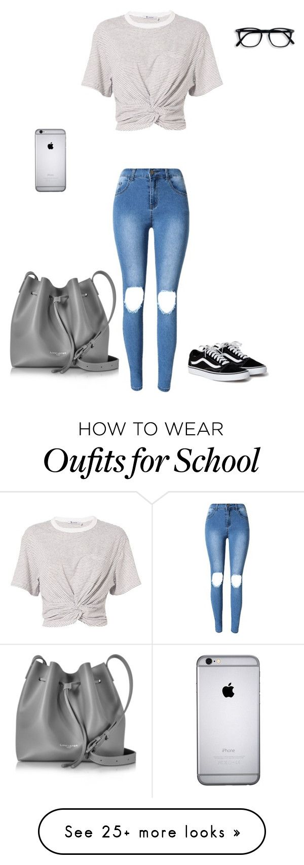 """""""School Look"""" by myamarie8 on Polyvore featuring T By Alexander Wang and Lancaster"""