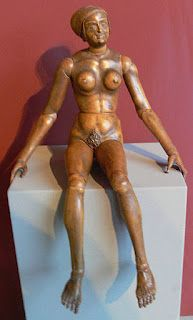 This is a fully articulated wooden doll, made in Germany c.1520