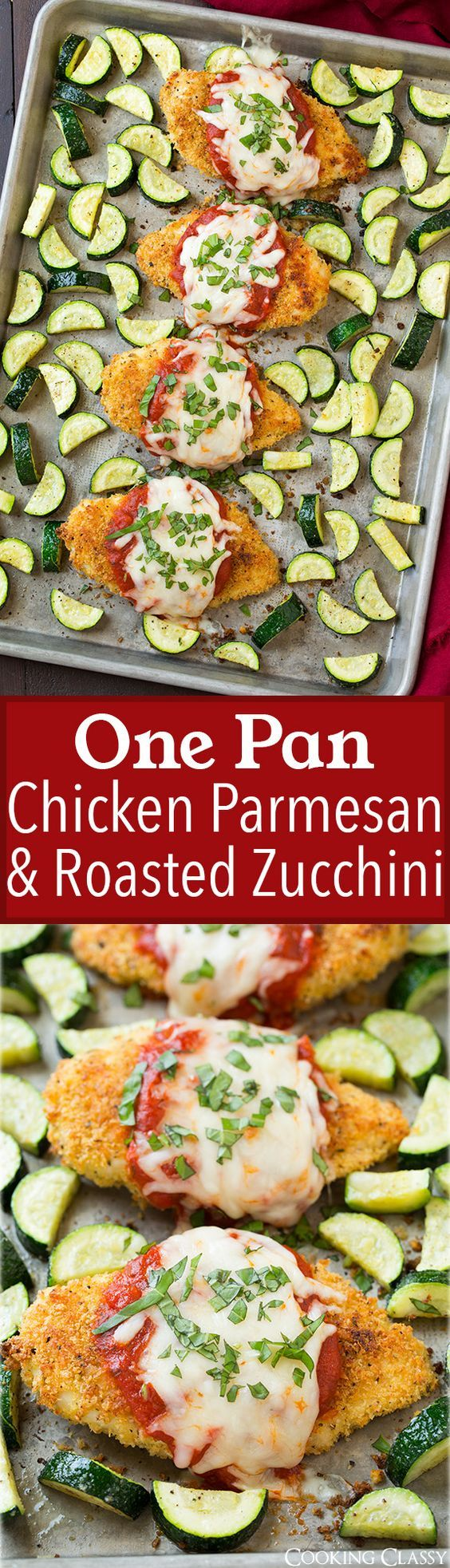 One Pan Chicken Parmesan and Roasted Zucchini - try this with oat or almond flour to make it fix-approved - or whole wheat bread crumbs