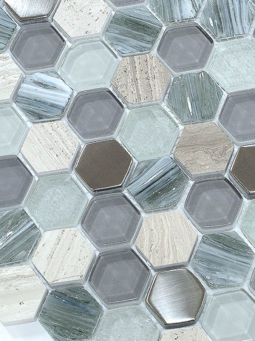 Best Blue Gray Hexagon Glass Marble Mosaic Tile Grey Bathroom 400 x 300